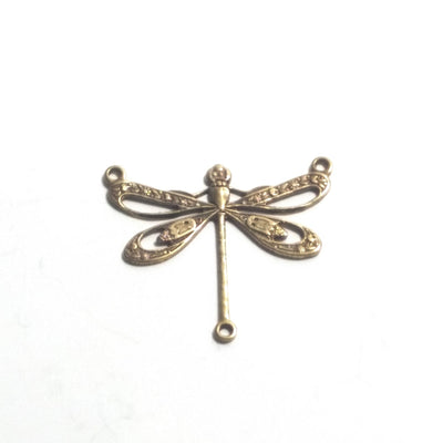 Large Antique Brass Filigree Dragonfly Pendant Connector Charm, 3 Loops, Lot Size 6, #10B