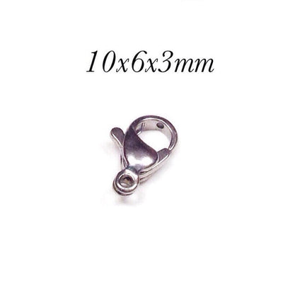 10mm Lobster Clasps, Stainless Steel, Lot Size 100 Clasps