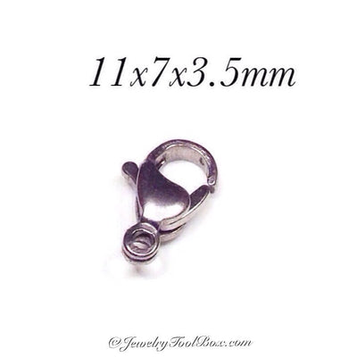 11mm Lobster Clasps, Stainless Steel, Lot Size 100 Clasps