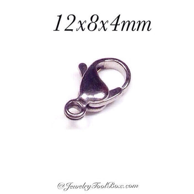 12mm Lobster Clasps, Stainless Steel, Lot Size 100 Clasps