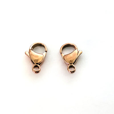 15mm Rose Gold Lobster Clasps, Stainless Steel Real Rose Gold Plated, Lot Size 50 Clasps, #1335 RG