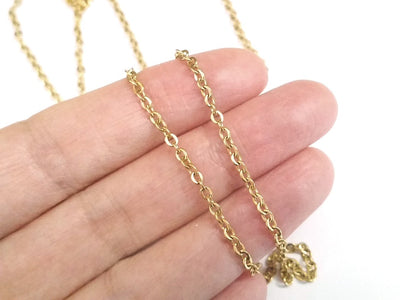 Fine Gold Stainless Chain, 3x2.5mm Flattened Oval Links, Bulk 50 Meters on a Spool, #1904 G