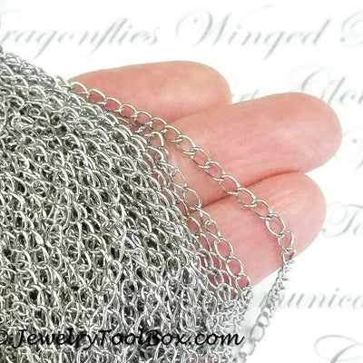 Twist Chain, Stainless Steel Soldered Links, 3x4x0.5mm, 25 Meters Spooled, #1925
