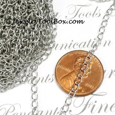 Twist Chain, Soldered Links, Stainless Steel, 3x4x0.5mm, 50 Meters Spooled, #1925