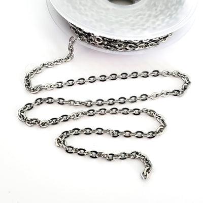 Stainless Steel Chain, 5x4mm Flattened, Open Links, 30 Feet, #1965