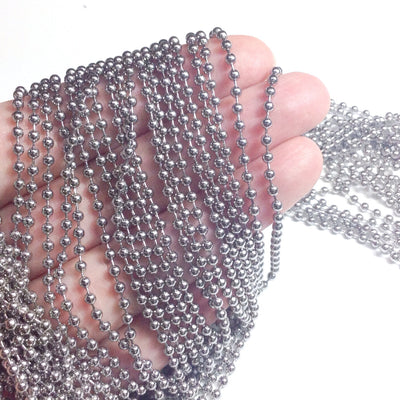 2.5mm Ball Chain, Stainless Steel, Lot Size 30 Feet or 50 Meters Spooled, #1916