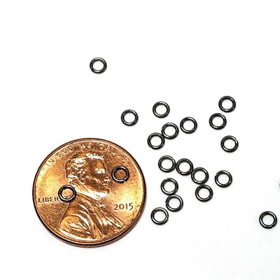 3mm Hematite / Black Stainless Jump Rings, 3x0.6mm, 1.8mm Inside Diameter, Closed Unsoldered, Lot Size 50 Pieces