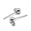 4mm Ball Earrings Posts, 2mm Loop, 0.7mm Pin, 100 Pieces, #1359