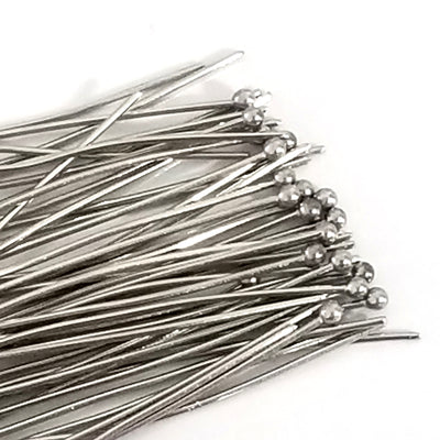 Stainless Steel Ballpins, 50mm (2 inches), 0.6mm thick, 23 gauge, Lot Size 50 (Approximately), #1302-50