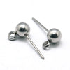 5mm Ball Earrings Posts, 2mm Loop, 0.7mm Pin, 100 Pieces, #1358