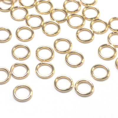Gold Stainless Jump Rings, 5x0.8mm, 3.4mm Inside Diameter, Closed Unsoldered, Lot Size 100