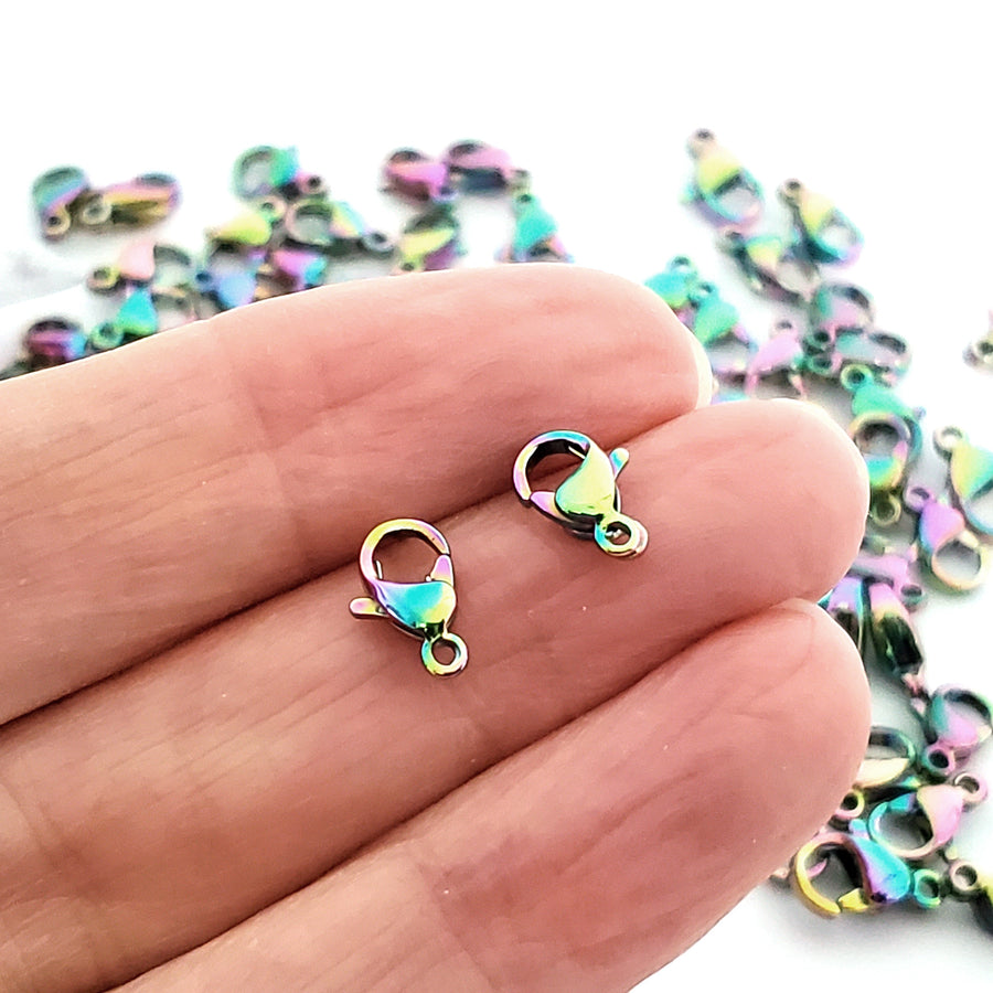 FF264 10 Rainbow Electroplated Stainless Steel Lobster Clasps 10mm x 7mm