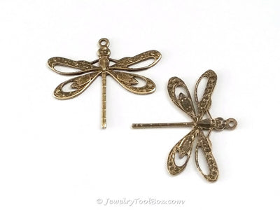 Large Antique Brass Filigree Dragonfly Charm, 1 Loop, Lot Size 6, #08B