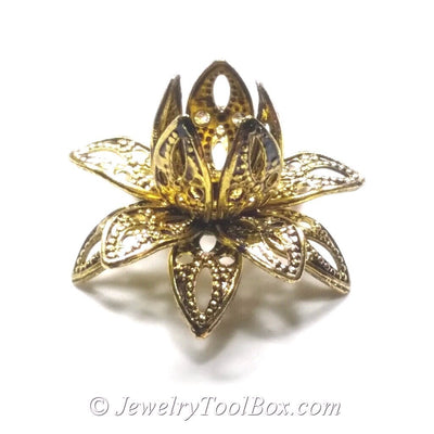 Antique Gold,  Filigree Flower Bead Caps, Multiple Layer, Bendable, Moldable, 2mm Hole, Lot Size 100, #2054 AG