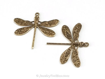 Large Antique Brass Dragonfly Charm, 1 Loop, Lot Size 6, #04B