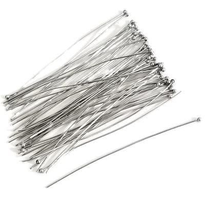 Long Stainless Steel Ballpins, 2 3/4 inches (70mm), 0.6mm (about 23 gauge), 500 Pieces, #1307