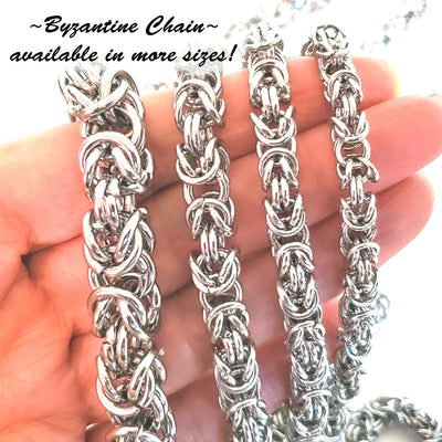 Byzantine Chain Stainless Steel, Open Links, 8mm Diameter, 1 Meter #1966 C