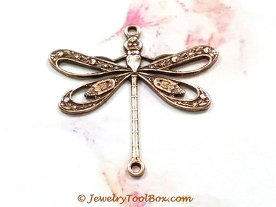 Large Antique Copper Filigree Dragonfly Connector Charm, 2 Loops,  Lot Size 6, #09C