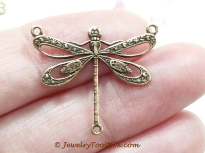Large Antique Copper Filigree Dragonfly Pendant Connector Charm, 3 Loops, Lot Size 6, #10C