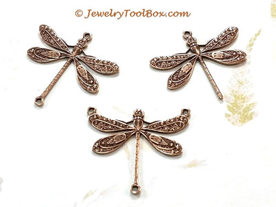 Large Antique Copper Dragonfly Charm, 1 Loop, Lot Size 6, #04C