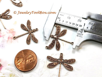 Large Antique Copper Dragonfly Pendant Connector Charm, 3 Loops, Lot Size 6, #06C