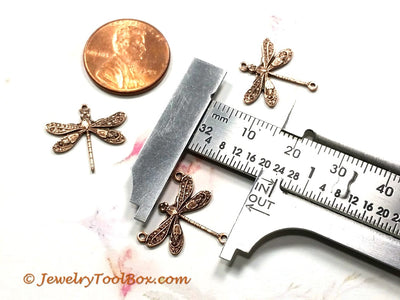 Small Antique Copper Dragonfly Pendant Connector Charm, 3 Loop, Lot Size 6, #03C