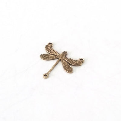 Small Antique Brass Dragonfly Pendant Connector Charm, 3 Loop, Lot Size 10, #03B