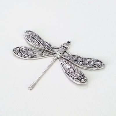 Extra Large Silver Dragonfly Charm, 1 Loop, Antique Sterling Silver Plated Brass, Lot Size 2, #07S