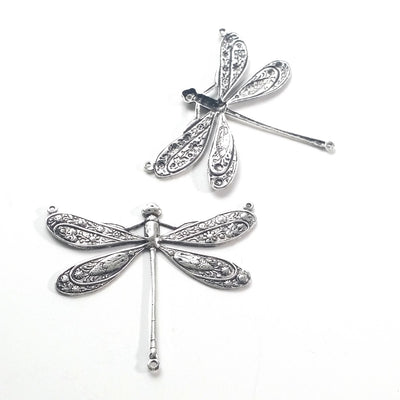 Extra Large Silver Dragonfly Pendant Connector Charm, 3 Loop, Antique Sterling Silver Plated Brass, Lot Size 2, #13S