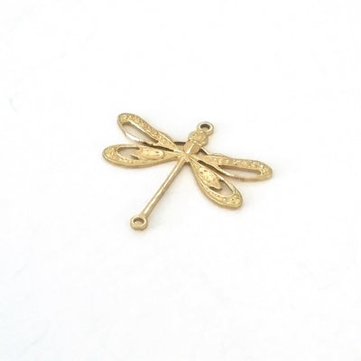 Large Filigree Dragonfly Connector Charm, 2 Loops, Brass, Lot Size 6, #09R