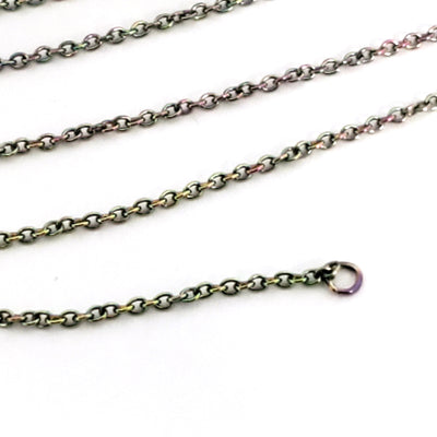 Colorful Fine Stainless Steel Chain, Bulk Jewelry Making Supplies, Flattened Oval Links, 1.5x1.5mm, Lot Size 30 Feet, #1901 MC