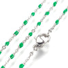 Green Enamel Stainless Station Chains, 18 inches each, Lot of 10 Chains, #99J