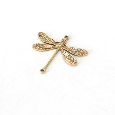 Large Gold Dragonfly Connector Charm, 2 Loops, 24 Kt Gold Plated Brass, Lot Size 6, #05G