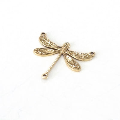 Large Gold Dragonfly Pendant Connector Charm, 3 Loops, 24 Kt Gold Plated Brass, Lot Size 6, #06G