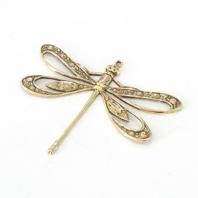 Extra Large Gold Filigree Dragonfly Charm, 1 Loop, 24 Kt Gold Plated Brass, Lot Size 2, #11G
