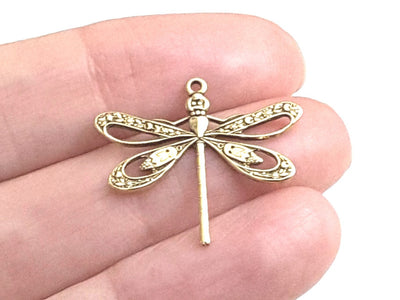 Large Gold Filigree Dragonfly Charm, 1 Loop, 24 Kt Gold Plated Brass, Lot Size 6, #08G