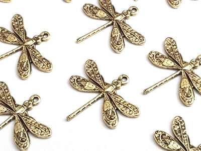 Small Gold Dragonfly Charm, 24 Kt Gold Plated Brass, 1 Loop, Lot Size 6, #01G