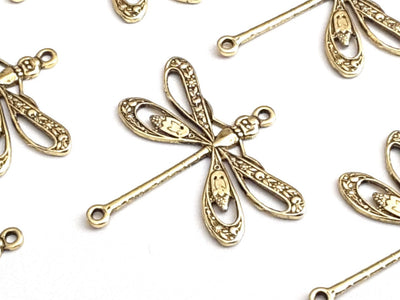 Large Gold Filigree Dragonfly Connector Charm, 2 Loop, 24 Kt Gold Plated Brass, Lot Size 6, #09G