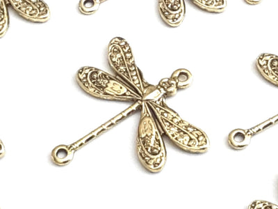 Small Gold Dragonfly Connector Charm, 2 Loops, 24 Kt Gold Plated Brass, Lot Size 6, #02G