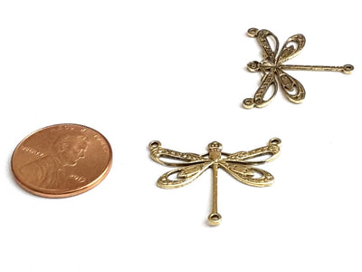 Large Gold Filigree Dragonfly Connector Pendant Charm, 3 Loops, 24 Kt Gold Plated Brass, Lot Size 6, #10G