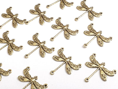 Small Gold Dragonfly Pendant Connector Charm, 3 Loops, 24 Kt Gold Plated Brass, Lot Size 6, #03G