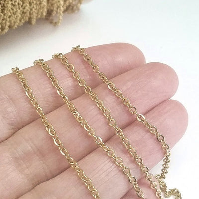 Fine Gold Stainless Chain, 3x2mm Flattened Oval Links, Bulk 50 Meters on a Spool, #1909 G