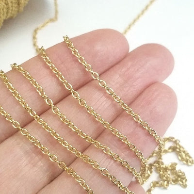 Fine Gold Stainless Chain, 2mm Soldered Closed Links, Lot Size 50 Meters on a Spool, #1913 G