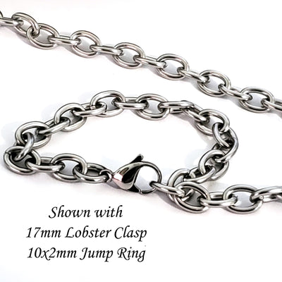 Extra Thick Stainless Steel Jewelry Chain, 10 Meter Spool, Open Links, 10.5x8x2mm, #1968