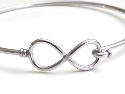 Infinity Bangle Bracelet, Stainless Steel, Charm Jewelry Finding, 60mm diameter, 2mm thick approx, Lot Size 25 Pieces, #1801