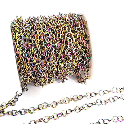 Multi-color Stainless Chain, Round 5x0.8mm Open Links, 30 Feet on a Spool, #1940 MC
