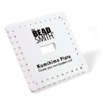 Kumihimo Plate with Instructions, 6 Inches Square, 3/8 Inch Thick, 35mm Hole, #601