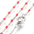 Red Enamel Stainless Station Chains, 18 inches each, Lot of 10 Chains, #99A