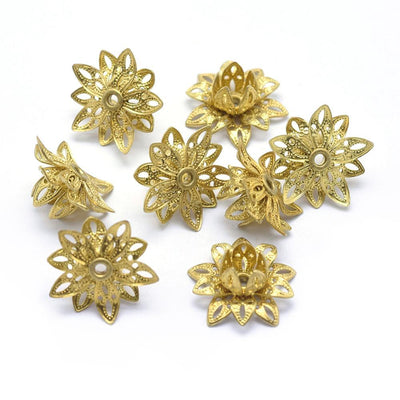 Raw Brass Filigree Flower Bead Caps, Multiple Layer Bendable, Moldable, 2mm Hole, Lot Size 100, #2054 RB