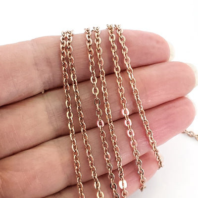 Rose Gold Stainless Chain, 3x2.5mm Flattened Oval Links, Bulk 20 Meters on a Spool, #1904 RG